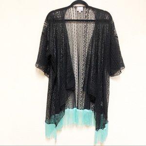 NWOT LuLaRoe Monroe Black Lace Kimono Teal Tassles